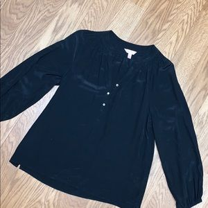 Lilly Pulitzer black silk long sleeve blouse